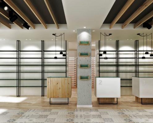 Interior farmacia Campanar Paloma Domínguez vista de frente