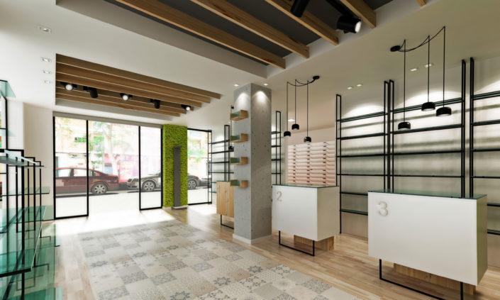 Interior farmacia Campanar Paloma Domínguez vista desde una esquina