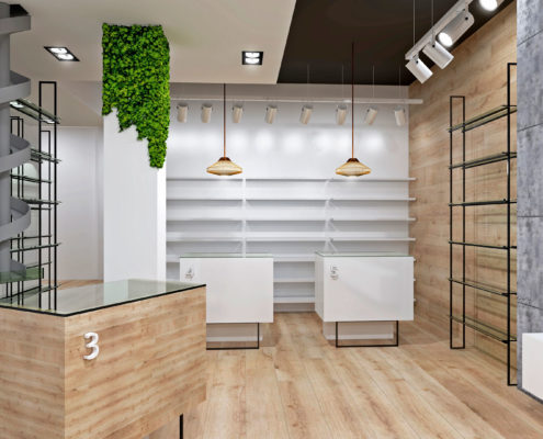 Interior farmacia Carmen Roquet de cerca