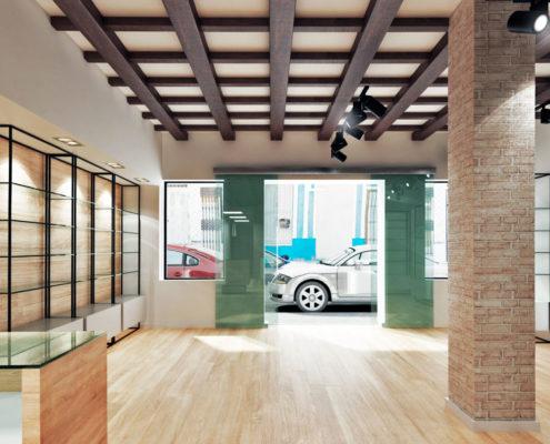 Farmacia Nou Cabanyal el interior visto desde atrás